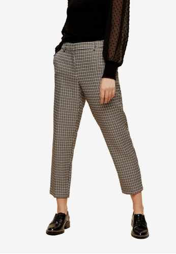 Dorothy Perkins beige PETITE Camel Houndstooth Ankle Grazer Trousers F24E9AAA9F2B8FGS_1