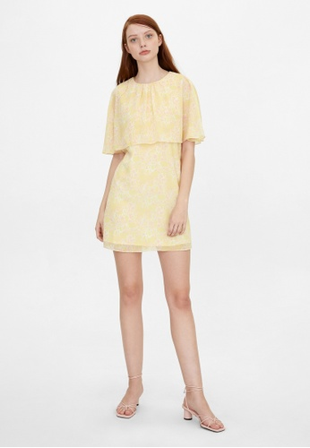 Pomelo yellow Mini Floral Cover Up Dress - Yellow C061BAA2EBE1DCGS_1
