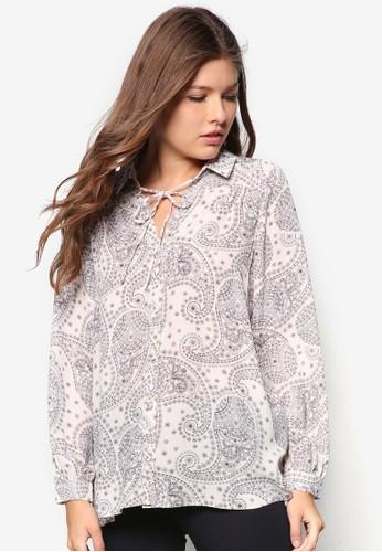 佩斯林zalora 鞋評價印花繫帶長袖襯衫, 服飾, 服飾