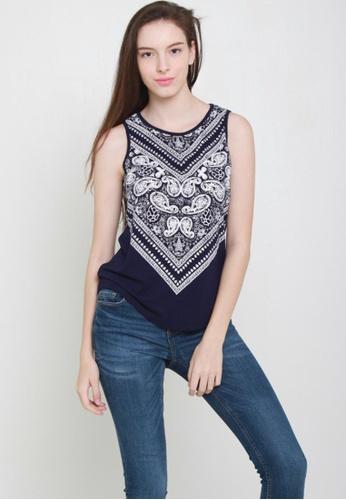 Leline Style blue Jo Prints Top LE802AA60GWLSG_1