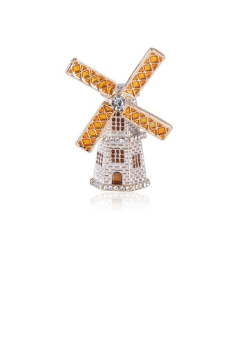 Glamorousky white Fashion Creative Plated Gold Lighthouse Windmill Brooch with Cubic Zirconia 39C13AC65C5E3DGS_1