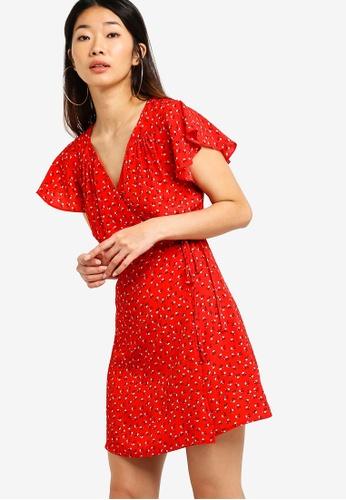 Something Borrowed red Short Sleeves Wrap Dress CB986AA15F973BGS_1
