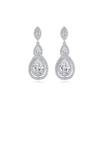 Glamorousky 白色 時尚璀璨水滴形耳環配鋯石 F0CF8AC7CD150CGS_1