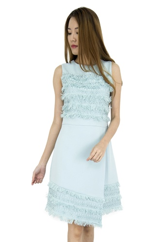 MOONRIVER green Avery Fringe Fit And Flare Dress MO886AA0GE3LSG_1