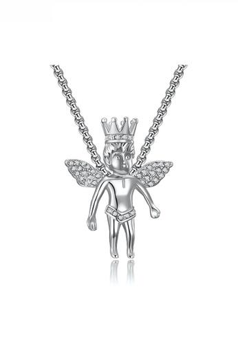 HAPPY FRIDAYS Crown Angel Boy Pendant Necklace JW QF-DZ374 8E46DAC33FFC34GS_1