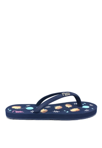 Ripples blue Hedgehog Flip Flops 241AFSH3B158D4GS_1