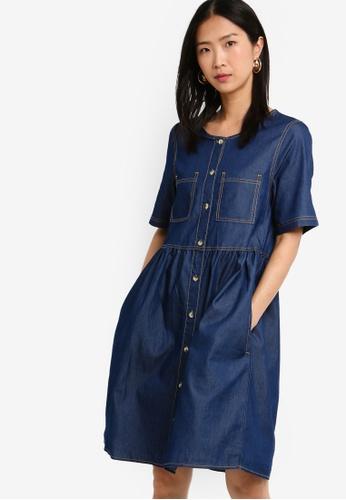 ZALORA BASICS blue Basic Denim Button Down Dress 18A1BAAE0D91F8GS_1