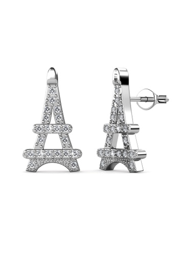 Her Jewellery silver Paris Cross Earrings (White) -  Made with premium grade crystals from Austria HE210AC0GRCASG_1