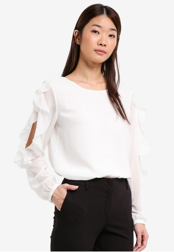 ESPRIT white Woven Long Sleeve Blouse 17B73AA3245DA5GS_1