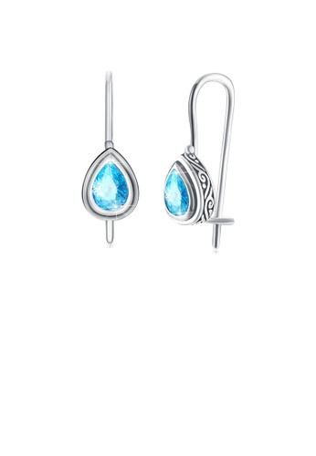 Glamorousky blue 925 Sterling Silver Fashion Elegant Water Drop Shaped Earrings with Blue Cubic Zircon 08C06AC48614A0GS_1
