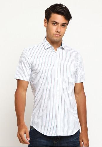 Arnett white Arnett Baju Pria Kemeja Lengan Pendek Stripe White B439CAA8A13569GS_1
