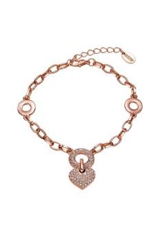 Treasure by B&D B079 Czech Drilling Heart Pendant Chain Bracelet + Tail Chain