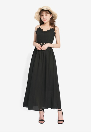 Yoco black Midi-Dress with Lace Cut-Out F3144AAA0D7794GS_1