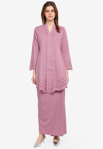 Gene Martino purple Fairy Kurung Kebarung with Floral Designs GE222AA0SR7AMY_1