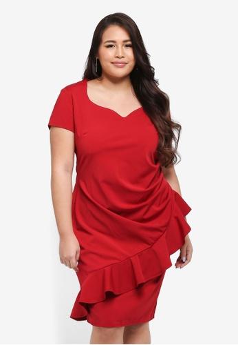 Goddiva red Plus Size Diagonal Frill Midi Dress F8352AA93A947BGS_1