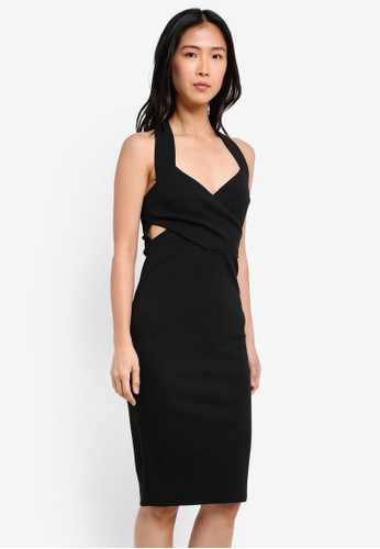 River Island black Wrap Front Fitted Midi Dress RI009AA0S73BMY_1