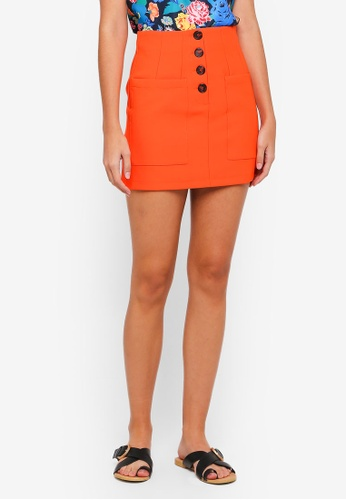 TOPSHOP orange Pocket Button Mini Skirt 78398AAE1917DCGS_1