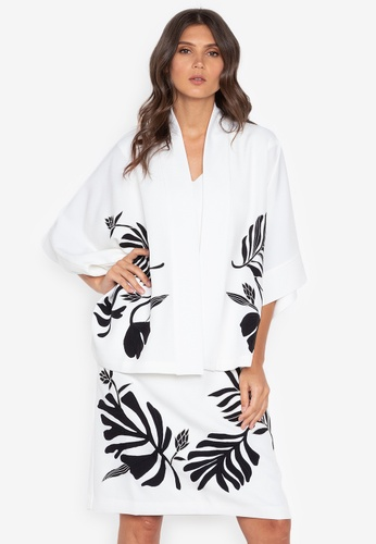 N Natori white Solid Topper With Applique FAC51AAC51388FGS_1