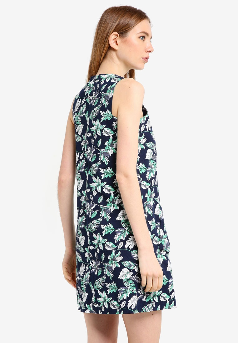 Lily ZALORA Dress Keyhole Navy Neckline Print Shift CwUBqXx6