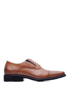 【ZALORA】 MIT。輕量。苯染牛皮。高質感休閒方頭皮鞋-09231-褐色