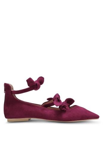 Velvet purple Triple Bow Pointed Toe Flats 080C1SH2FAEA6EGS_1