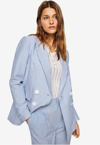Mango white Fine-Stripe Suit Blazer 634A9AA30DDB43GS_1