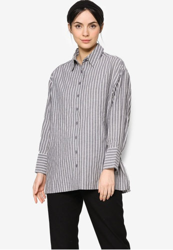 ZALIA BASICS black Stripes Oversize Collar  Shirt 1A3E0AA2AEC0A0GS_1
