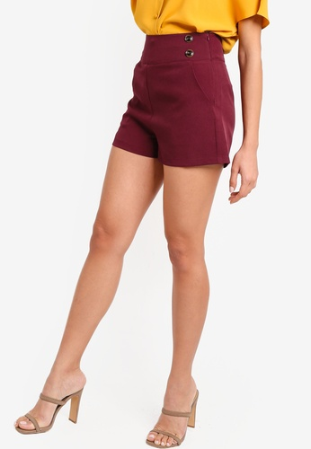 ZALORA red Shorts With Buttons DDD1DAA02D474EGS_1