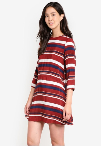 ZALORA brown and multi Long Sleeve Shift Dress 2F5B3AAF4375F0GS_1