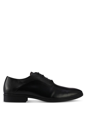 ACUTO black Leather Dress Shoes AC283SH0SL5AMY_1
