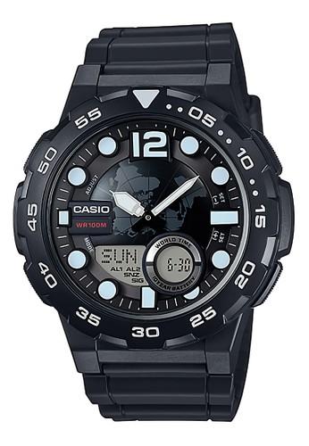 Casio black Casio Dualtime - Jam Tangan Pria - Black - Resin Strap - AEQ-100W-1AVDF CA347AC95ZFWID_1