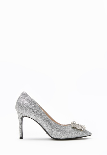PAZZION silver Sparkly Embellished Front Heels 0DB0BSHF4FCC1FGS_1