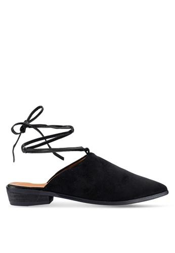Berrybenka 黑色 綁帶穆勒鞋 B3409SHE7A7AEBGS_1