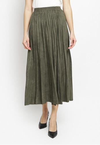 Just Out green Damara Plisket Maxi Skirt 2435BAAFD3BAB0GS_1