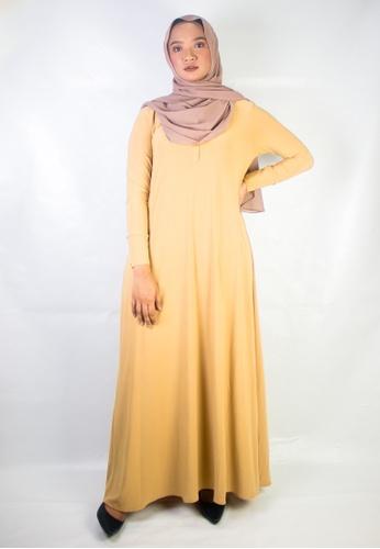 Zaryluq beige Shirt Dress in Golden Tan 03715AA7D7C6C4GS_1