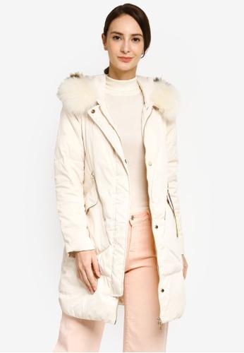 Hopeshow beige Mid Length Down Jacket with Fur Hood 3BAA1AAC8FF094GS_1