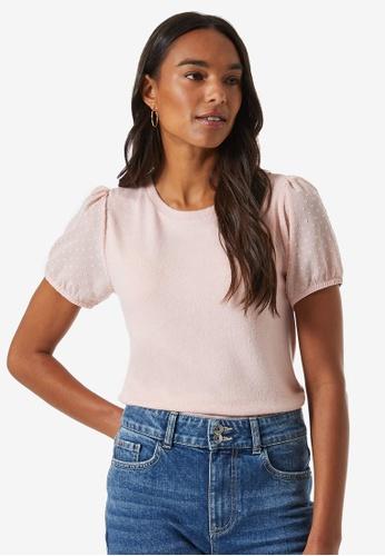 Dorothy Perkins pink Dobby Sleeve T-shirt 7E69BAA713F5D5GS_1