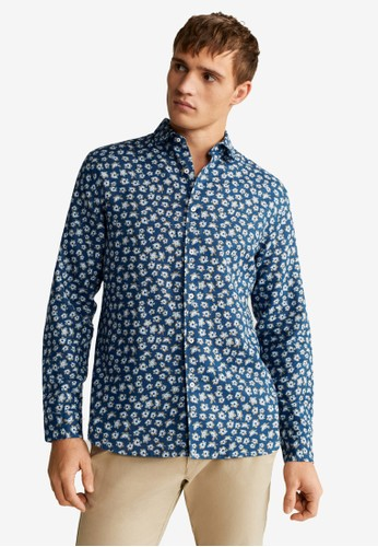 Mango Man blue Regular Fit Cotton Linen-Blend Shirt 9929EAA6DA3A69GS_1