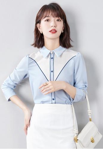 Halo blue Printed Long Sleeves Blouses F84AAAAE6078E0GS_1