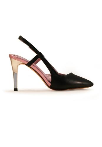 Gripz black Lola Pointed Toe Metalic Lamb Leather Sling Back Heels GR357SH62KGJSG_1