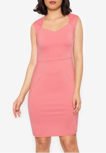 ZALORA WORK pink Sweetheart Neckline Knit Dress 3018EAAA071A6DGS_1