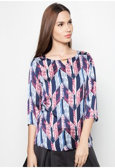 Quarter Sleeves Ethnic Print Blouse