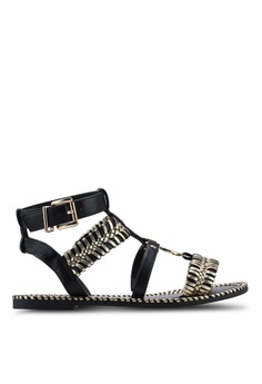 6f9197b3387 River Island black Caged Gold Tone Sandals 2BBBDSHB3404A7GS 1