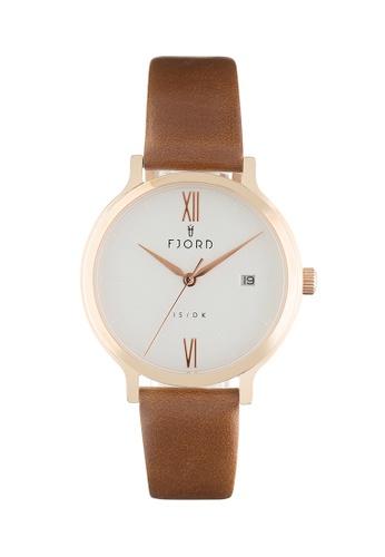 Fjord brown Fjord Women's Genuine Leather Watch - FJ-6048-02 E0A99ACB86E6FAGS_1