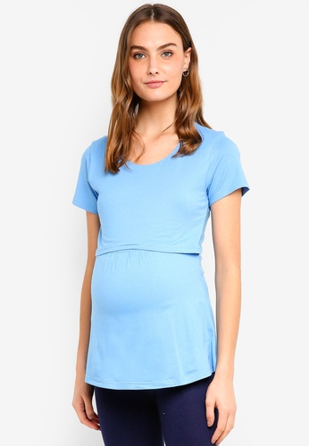 Spring Maternity blue Maternity Short Sleeves Aggie Emp Top DE4F0AA2E99F20GS_1