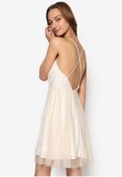 Miss Selfridge beige Cream Spot Mesh Wrap Dress MI665AA27YNSMY_1