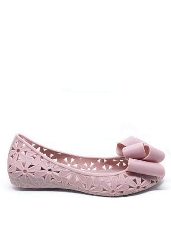 Twenty Eight Shoes 粉紅色 蝴蝶結鏤空果凍膠平底鞋 a820 4E9EBSH1D1BDD0GS_1