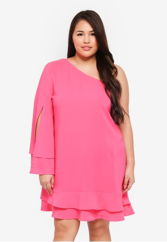 ELVI pink Plus Size Pyranine One Sleeve Swing Dress AA122AA05BDE7CGS_1