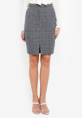 ZALORA grey Pencil Skirt EC257AABFAB4BEGS_1