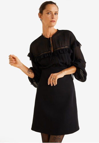 Mango black Sheer Panels Dress E950CAA62E8C00GS_1